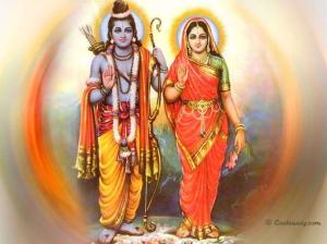 Lord Sri Rama and his wife Sita